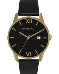 Unknown - Un15da07 The Dandy Gold-toned Stainless Steel And Leather Watch - Lyst