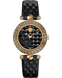 Versace - Vqm10016 Micro Vanitas Gold-plated Ceramic And Leather Watch - Lyst