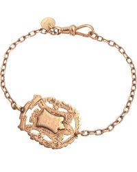 Annina Vogel - 9ct Rose-gold Knowledge Comes But Wisdom Lingers Medallion Antique Bracelet - Lyst