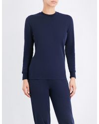 Sunspel - Ladies Navy Ribbed Traditional Round-neck Cotton-jersey Sweatshirt - Lyst