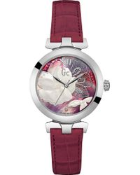 Gc - Y22005l3 Ladybelle Stainless Steel And Leather Watch - Lyst
