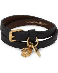 Alexander McQueen Skull Double-wrap Leather Bracelet - Black