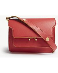 Marni - Ladies Red Modern Trunk Leather Shoulder Bag - Lyst