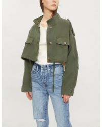 The Kooples - Cropped Stretch-cotton Jacket - Lyst