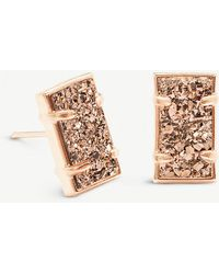 Kendra Scott - Paola 14ct Rose Gold-plated Brass And Rose Gold Drusy Earrings - Lyst
