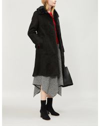 Burberry - Thestford Belted Shearling Coat - Lyst