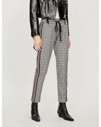 The Kooples - High-rise Side-stripe Checked Flannel Straight-leg Trousers - Lyst