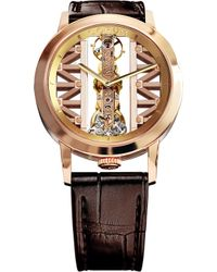 Corum   Gg55r Golden Bridge 18ct Gold And Leather Watch   Lyst