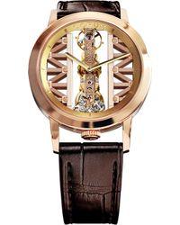 Corum - Gg55r Golden Bridge 18ct Gold And Leather Watch - Lyst