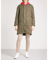 Chocoolate - Contrasting Hood Quilted Bomber Jacket - Lyst