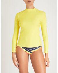 Perfect Moment - Ladies Yellow Logo-print Rashguard - Lyst