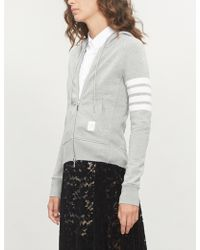 Thom Browne - 4-bar Stripe Cotton-jersey Hoody - Lyst