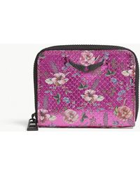 Zadig & Voltaire - Floral-print Mini Textured Leather Purse - Lyst