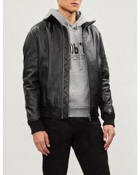 The Kooples - Zig-zag Stitch Panel Leather Jacket - Lyst