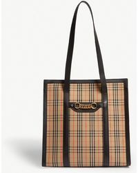 Burberry - Beige And Black 1983 Check Link Tote - Lyst