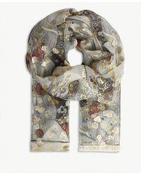 Alexander McQueen - Eve Print Metallic Silk-blend Scarf - Lyst