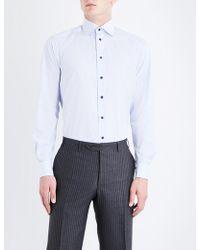 Eton of Sweden - Grid-patterned Contemporary-fit Cotton-poplin Shirt - Lyst