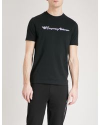 Emporio Armani | Embroidered Cotton-jersey T-shirt | Lyst