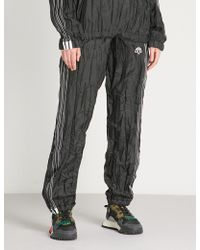 Alexander Wang - Logo-embroidered Crinkled Shell Trousers - Lyst