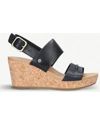 UGG - Elena Ii Leather Wedge Sandals - Lyst