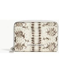 MICHAEL Michael Kors - Money Pieces Snake-embossed Leather Card Purse - Lyst
