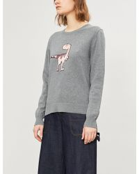 Markus Lupfer - Tracy Sequin-embellished Dinosaur Motif Cotton Jumper - Lyst