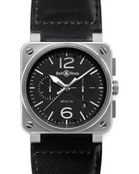 Bell & Ross | Br0394-bl-si/sca Aviation Steel And Leather Watch | Lyst