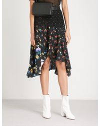 Mo&co. - Floral And Dot Patterned Crepe Skirt - Lyst