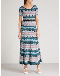 Sandro - Zigzag Maxi Knitted Dress - Lyst
