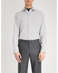 Canali - Regular-fit Brushed-cotton Shirt - Lyst