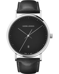 Georg Jensen - Koppel Stainless Steel And Leather Watch - Lyst