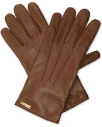 Burberry - House Check Leather Gloves - Lyst