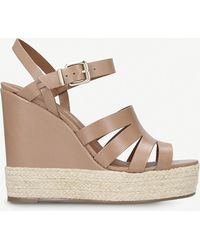 Kurt Geiger - Aura Leather Wedge Sandals - Lyst