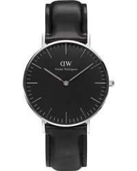 Daniel Wellington - Classic Black Sheffied Leather And Stainless Steel Watch - Lyst