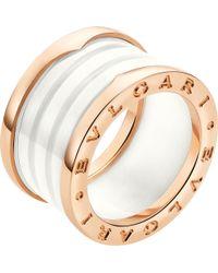 BVLGARI - B.zero1 Four-band 18kt Pink-gold And Ceramic Ring - Lyst