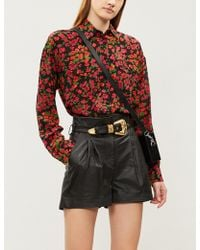 The Kooples - Belted Leather Shorts - Lyst