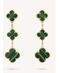 Van Cleef & Arpels - Magic Alhambra Gold And Malachite Earrings - Lyst