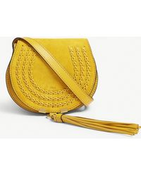 Chloé - Yellow Woven Marcie Mini Suede Saddle Bag - Lyst