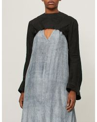 Aganovich - Ruffled-detail Cropped Linen Jacket - Lyst