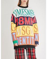 MSGM - Logo Print Crew Neck Long Sleeve Jumper - Lyst