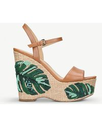 MICHAEL Michael Kors - Fisher Leather And Palm Tree-embroidered Wedge Sandals - Lyst