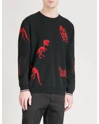 Lanvin - Dinosaur-intarsia Knitted Jumper - Lyst