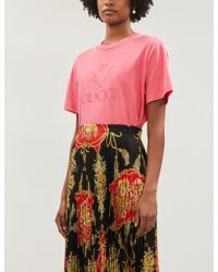 bc0b8181 Gucci - Graphic-print Cotton-jersey T-shirt - Lyst