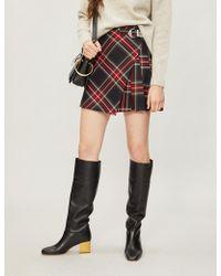 Maje - Tartan-print Woven Skirt - Lyst