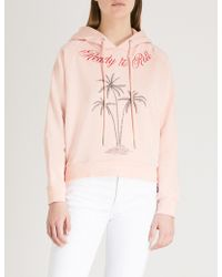 The Kooples - Palm Tree Cotton-jersey Hoody - Lyst