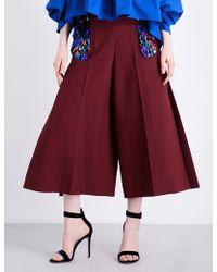 Delpozo - Embellished Wide-leg Wool-blend Trousers - Lyst