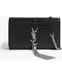 Saint Laurent - Ladies Black And Silver Kate Wallet-on-chain - Lyst