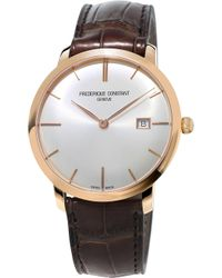 Frederique Constant - Fc-306v4s4 Slimline Gold-plated Stainless Steel And Leather Watch - Lyst