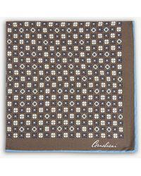 Corneliani - Floral-tile Silk Pocket Square - Lyst