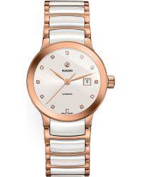 Rado - R30183742 Centrix Rose Gold And Ceramic Watch - Lyst